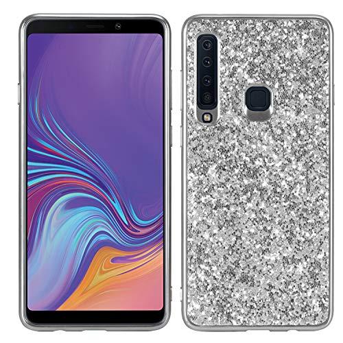 Shinyzone Coque pour Samsung Galaxy A9 2018 Étui Briller Paillettes,Douce Mince Antichoc de Silicone TPU [Argent] pour Fille Femme avec Pare-Chocs Placage de Mode Personnalisée