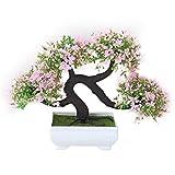 Elec tech Heimtextilien Simulation Blume Bonsai Pflanzen Topfblumen Set Grün Wohnzimmer Dekor Dekoration Tisch Wein, Gast-Gruß Kiefer (C)