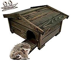 BLIŹNIAKI Hölzernes Igelhaus 37x47x25cm Abnehmbares Dach Holzboden Sicher für Igel Igelhütte Igelhotel ECO Igelhaus aus Holz Igelhotel für den Garten HDJ3 CZ