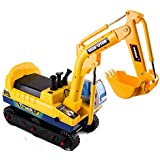 deAO Childrens Ride on Electric Excavator Digger Truck Outdoor Toy Ride On Vehicle with Sounds and Rechargeable Batteries