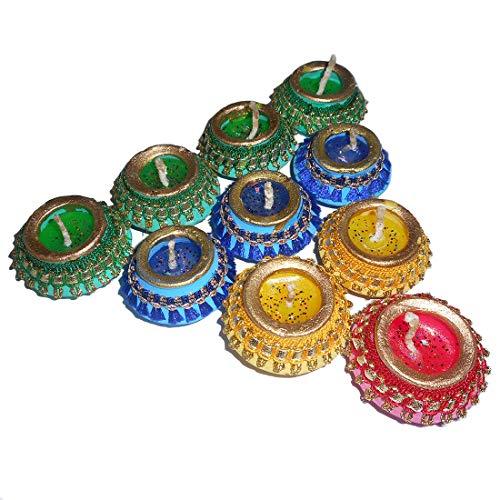 Sky Trends Diwali Gift Set, Best Diwali Gift for Home Decorative Handmade Diyas Green, Yellow, Red, Blue- 10-Diya Set