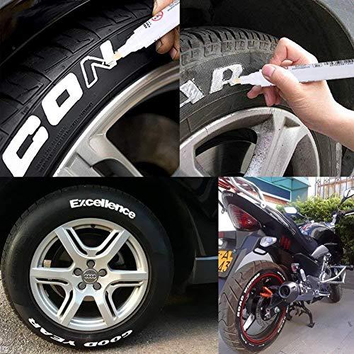 Elementral Weißer Reifenlack-Markierungs-Notizstift, Universeller Wasserdichter Permanentstift - Geeignet Für Auto-Motorrad-Reifenprofil-Gummi-Metall