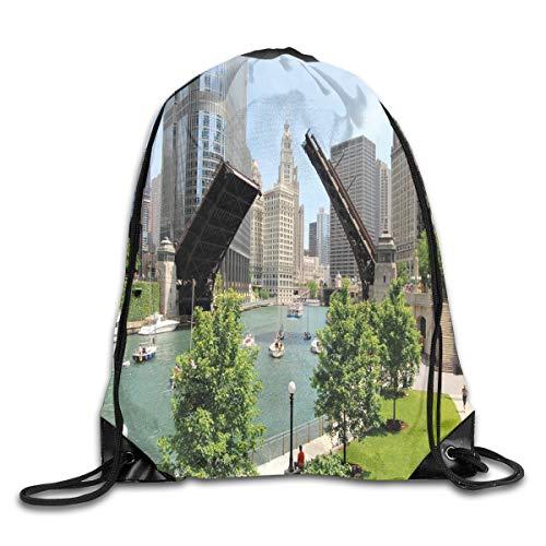 HLKPE Drawstring Backpacks Bags Daypacks,Downtown Chicago Illinois Finance Business Center Lake Michigan Avenue Bridge,5 Liter Capacity Adjustable for Sport Gym Traveling