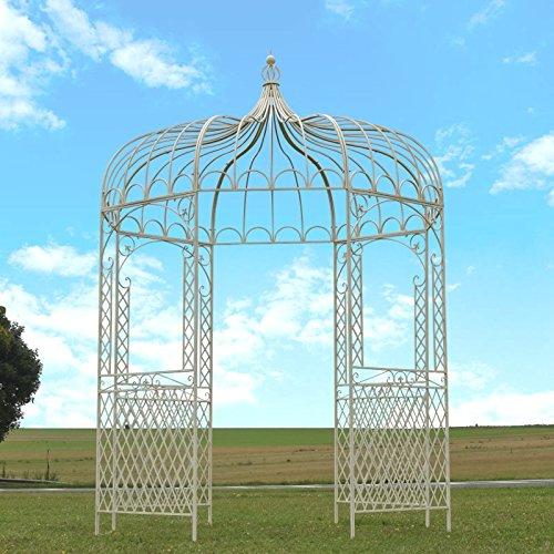 chemin_de_campagne Gloriette Pergola Eisen-Gartenpavillon Weiß ø 200 cm
