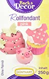Günthart Rollfondant, pink | Palmöl Frei | Azo Frei | ( 4 x 250 g), 1er Pack (1 x 1 kg)