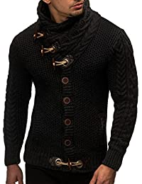 LEIF NELSON Gilet Tricot col Large - Homme LN4195