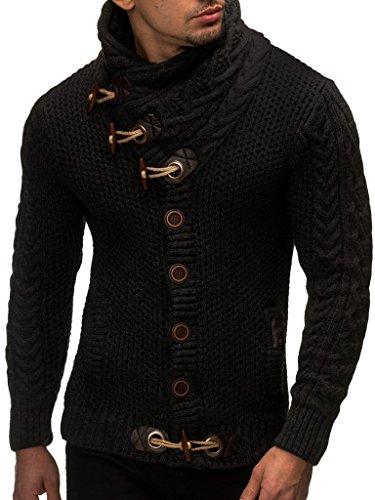 LEIF NELSON Herren Pullover Strickjacke Hoodie Jacke Kapuzenpullover Sweatshirt Longsleeve LN4195 (Medium, Schwarz)