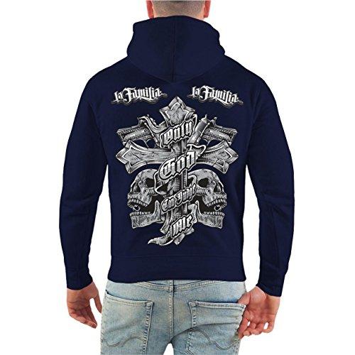 Männer und Herren Kapuzenpullover La Familia Judge Me (mit Rückendruck) Größe S - 8XL Dunkelblau