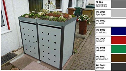 Metall Mülltonnenbox für 2 Tonnen, Müllcontainer, Müllbox. Made in Germany. # Größe: Für 2 Tonnen bis 120 l # Farbe: Farbenauswahl per EMail angeben # Dach: Mit Pflanzwanne # Stanzung: ST 3/5