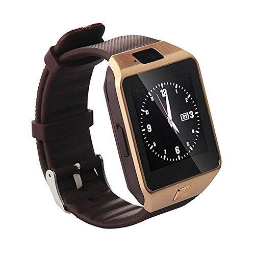 Hipipooo-DZ09 Bluetooth Smartwatch mit SIM-Kartensteckplatz Machen Sie Telefonanrufe 2.0MP Kamera Support Nachricht Benachrichtigung TF Card Pedometer Sleep Monitor Kompatibel mit Android und iOS System (Gold) - Spiel-capture-karte