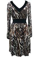 591 Animal Print Tunic Dress Brown & Cream