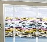 Fensterfolie Wellen bunt - statische Dekorfolie LINEA FIX - Meterware - Glasdekorfolie Buntglas Fensterdeko Sichtschutz