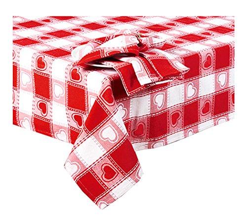 Cotton Park Cottage Valentine 's Day Rot Weiß Herzen Fülle, Gewebter Stoff Tischdecke 60 x 84 Oval Rot/Weiß (Tischdecke Stoff 60 X 84)