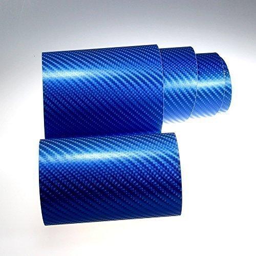 Autofolie 4D Carbon Blau metallic 152cm breit BLASENFREI mit Luftkanäle 3D Flex Folie Auto