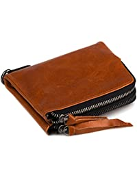 Kafa Women'S Small Genuine Leather Wallet With Zipper Pocket Compact Wallets For Women (Brown)