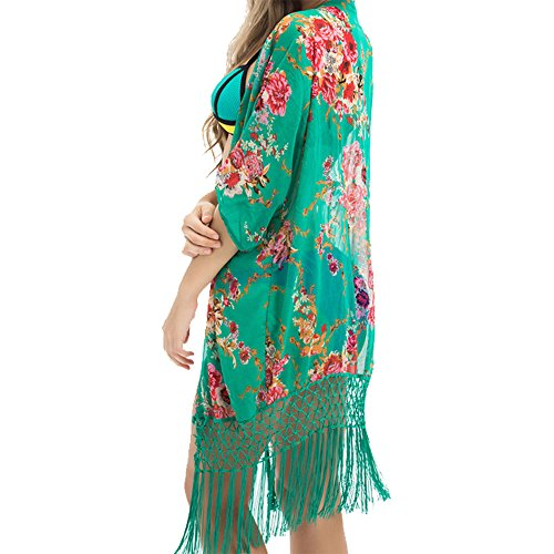 Tuopuda Mujeres Gasa Pareos Playa Manto Protector Solar Larga Vestido Traje De Baño Bikini Cubierta hasta Ropa De Playa (Verde)