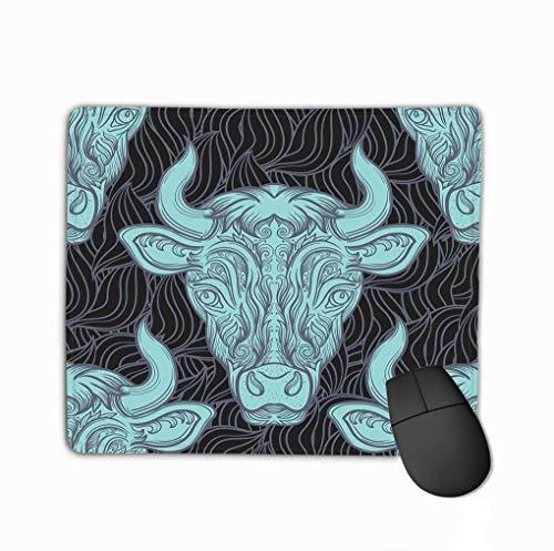 Standard Size Rectangle Non-Slip Rubber Mousepad 11.81 X 9.84 Inch Bull Decorative Pattern Ellement Cow Clipart Vintage -