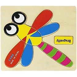 Juguetes para niños,Ouneed Bloques de madera animales Puzzle juguete educativo de dibujos animados para niños (A)