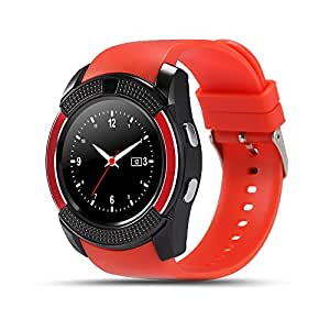 Bluetooth Smartwatch With Sim Support | Facebook , Whatsapp , Twitter | Touch Screen | Remote Camera | Calling Facility | Call recording | SD Card | Phonebook Comaptible with Xiaomi Redmi Note 3 32GB Red Color By mobicell