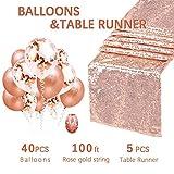 QueenDream Chemin de Table à Paillettes Or Rose Paillettes, Rose Gold, 5 Package