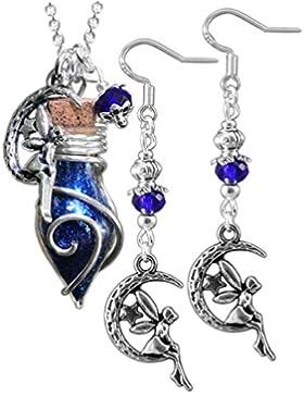 Katharina Fairytale Damen Schmuck Set Kette Phiole Elfenstaub und Ohrringe der Mondelfe blau