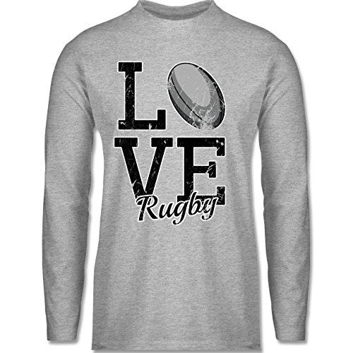 Shirtracer Sonstige Sportarten - Love Rugby - Herren Langarmshirt Grau Meliert