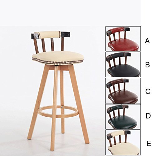 Barhocker YYF Retro-Stil Swivel Hochstuhl, Bar Lounge Stühle, Home Decor, Holz Farbe Hocker Beine (größe : H80CM) -