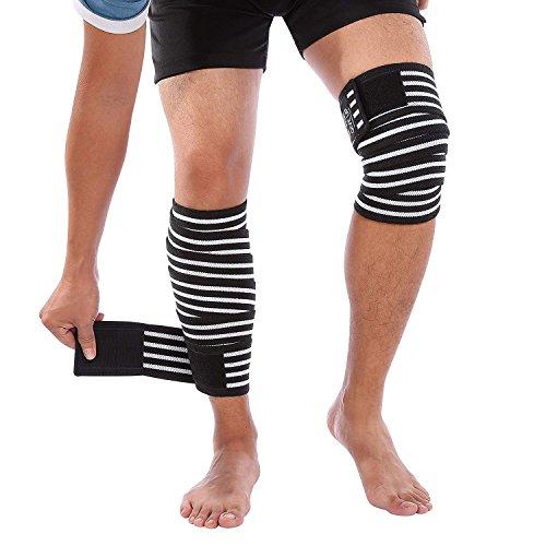 PINCOU Knee Wraps Knee Compression Sleeve Protector Muslo Correas Soporte Elastic Brace para Mujeres Hombres-Entrenamiento, Halterofilia