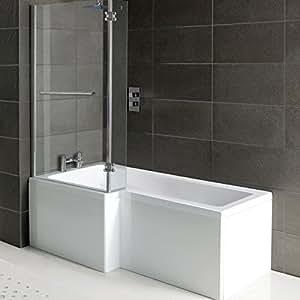 matrix l form badezimmer dusche badewanne front panel dusche bildschirm mit handtuchhalter. Black Bedroom Furniture Sets. Home Design Ideas