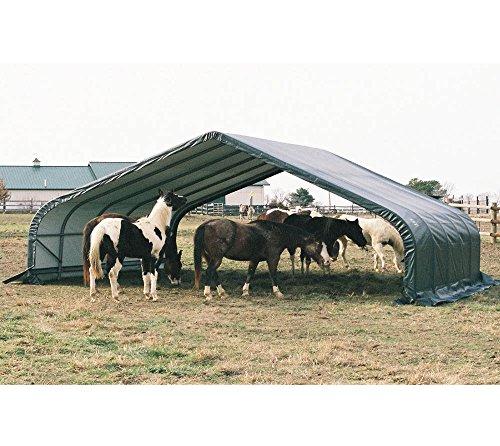 ShelterLogic Run-In-Shed Weidezelt, Weideunterstand 49,6m² * EXKLUSIVPRODUKT * // 680x730 cm (LxB) // Lagerzelt, Lagerhütte und Pferdestall