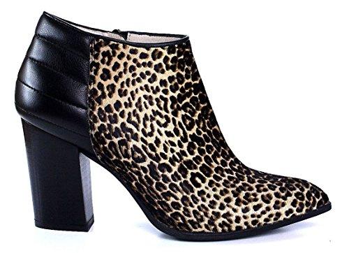 Unisa Ankle Boot Perseo braun Leoparden spitz Blockabsatz Braun