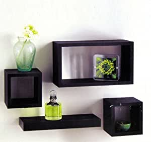 set of 4 black wooden wall mounted retro floating cube