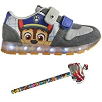 Patrulla Canina - Zapatillas con luces Chase, luces led desactivables, color azul y gris - Paw Patrol light sneakers + Lapiz con goma de regalo.