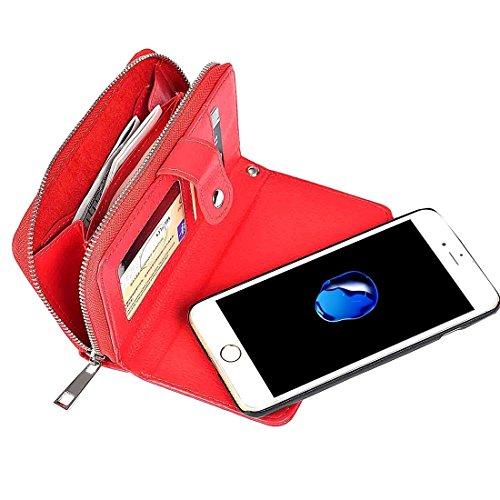 iPhone Case Cover Pour iPhone 7 Séparable Litchi Texture Zipper Boîtier en cuir horizontal Flip avec des fentes pour cartes et porte-monnaie et cadre photo & Lanyard ( Color : Blue ) Red