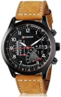 BLUTECHTM 2017 New Collection Curren Festive Season Special Black Round Shapped Dial Brown Leather Strap Party Wedding | Casual Watch | Formal Watch | Sport Watch | Fashion Wrist Watch For Boys and Men | Curren M-8152