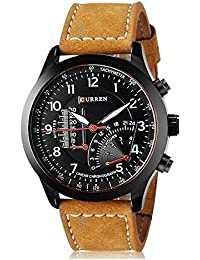 BLUTECH™ 2017 New Collection Curren Festive Season Special Black Round Shapped Dial Brown Leather Strap Party Wedding | Casual Watch | Formal Watch | Sport Watch | Fashion Wrist Watch For Boys and Men | Curren M-8152