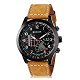 #6: BLUTECH™ 2017 New Collection Curren Festive Season Special Black Round Shapped Dial Brown Leather Strap Party Wedding | Casual Watch | Formal Watch | Sport Watch | Fashion Wrist Watch For Boys and Men | Curren M-8152