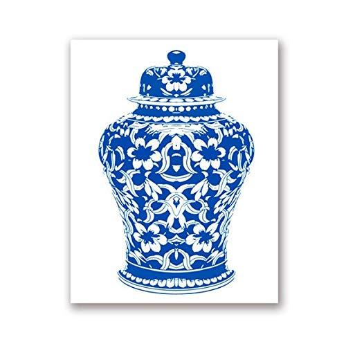 NCKLY Malen Blau Und Weiß Ingwer Glas Drucken Schicke Leinwand Kunst Malerei Blau Weiße Vase Und Porzellan Bild,20X25 cm No Frame,Ph1639