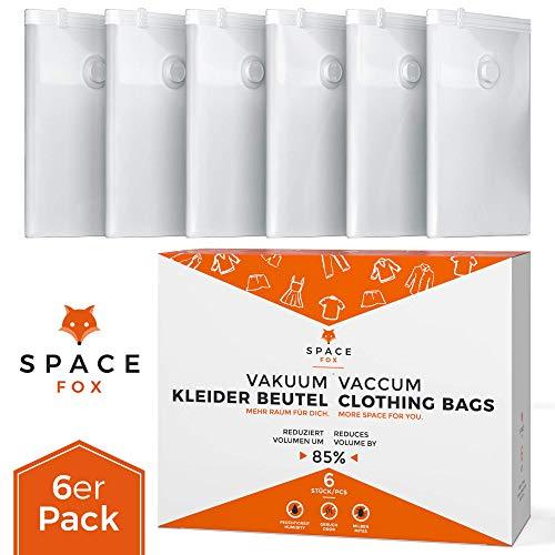 SpaceFox 6er Set Vakuumbeutel für Kleidung - EINFÜHRUNGSANGEBOT - 6 Vacuum Storage Bags - Große Vakuumier Beutel 70 x 100 cm