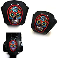 Karlchoupte Punteras para patines de ruedas, de cuero, con diseño de calavera - Floral face