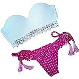 OVERDOSE Damen Sexy Bikini Sets Badeanzug Kleidung Bademode Beachwear(A-Pink,M)