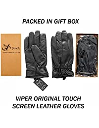 Viper Fleece Lined Thermal Insulated Genuine Black Leather Mens Gloves Touch screen (xl)