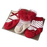 Sanlutoz Baby Kinder Mädchen 3 Paare Prinzessin Tutu Socken Hochzeit Nette Neugeborene Baby Socken (0-12 Monate, SKPK049)