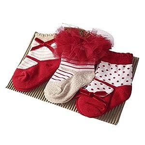 Sanlutoz Bambino bambini Ragazze 3 coppie Principessa tutu Nozze Calzini Carina Neonato infantile Bambino Calzini (12-24 mesi, SKPK049)