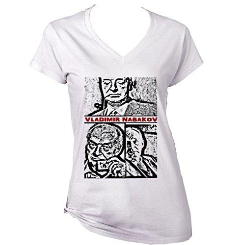 Teesquare1st Women's VLADIMIR NABAKOV RUSSIAN AMERICAN NOVELIST White T-Shirt Size XLarge