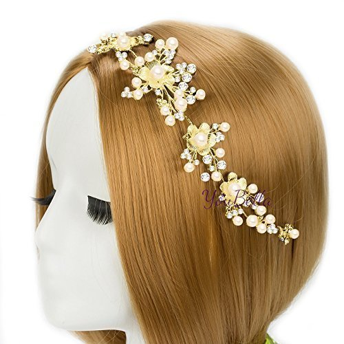 YouBella Floral Stone Hair Chain Clip with Pins for Women