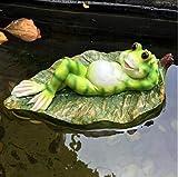 Sgualie Home Verde galleggianti Rana d'Acqua Scultura in Resina Decorazione Giardino Esterno Decorazione Acquario Pesci Serbatoio, style2