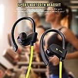Flame Cuffie Bluetooth, IPX7, impermeabili, sportive, 7 – 10 ore di tempo di gioco, bassi ricci, cuffie sportive per jogging/corsa, Bluetooth 4.1, auricolari con microfono per iPhone, Android, Samsung, iPad, Huawei, HTC, ecc.