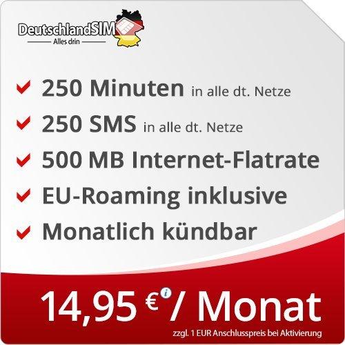 DeutschlandSIM SMART 250 [SIM, Micro-SIM und Nano-SIM] monatlich kündbar (500MB Internet-Flat, 250 Frei-Minuten, 250 Frei-SMS, EU-Roaming inklusive, 14,95 Euro/Monat) Vodafone-Netz