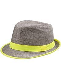Y-BOA - Chapeau Panama– Unisexe – bord fluo- Eté – Voyage/Plage/ Soleil - Style Fedora Trilby – Femme/ Homme Moderne – Casual